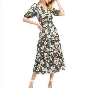 Gal Meets Glam Tegan Floral Tiered Midi Dress Sz 2
